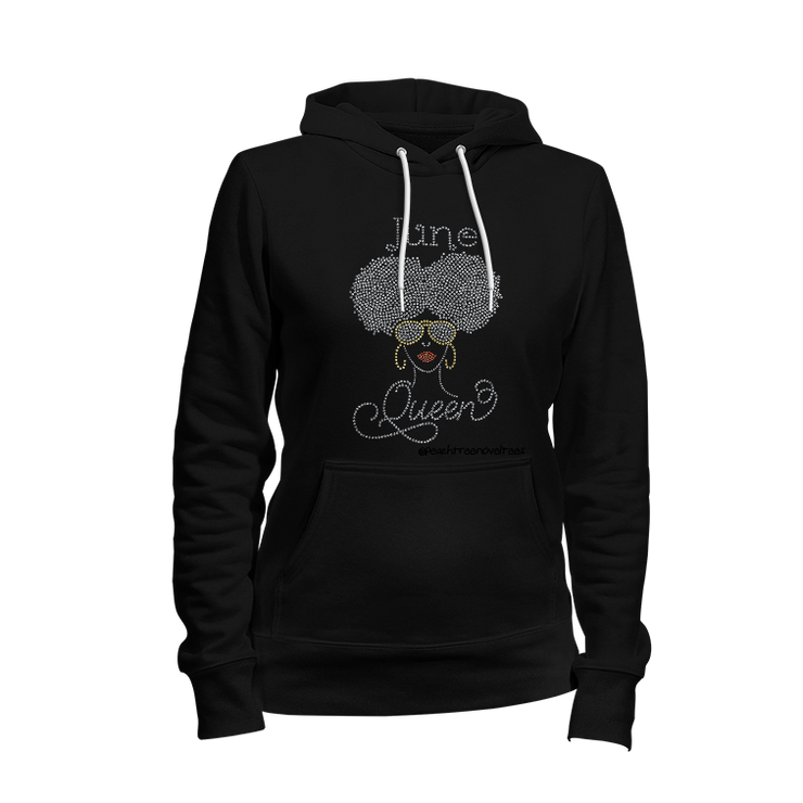 Afro Puffs Birthday Rhinestone Ladies Hoodie