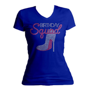 Birthday Squad Bling V-Neck Shirt
