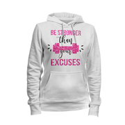 Be Stronger Than Your Excuses Glitter Hoodie