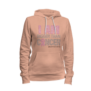 I Am Bigger Than Cancer Rhinestone Ladies Hoodie