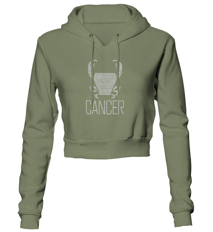 Cancer Horoscope Bling Cropped Hoodie