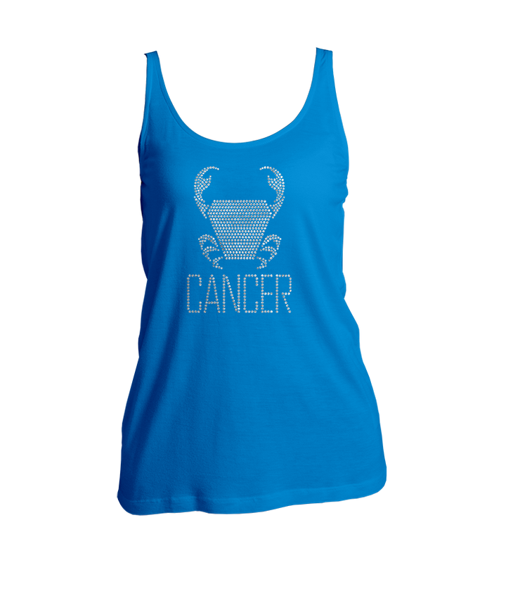 Cancer Horoscope Bling Ladies Tank Top