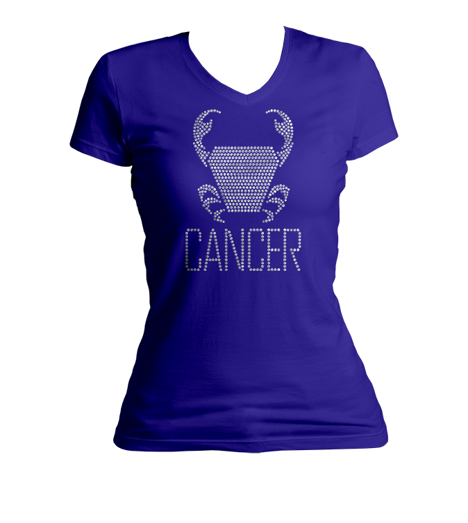Cancer Horoscope Bling V-Neck Shirt
