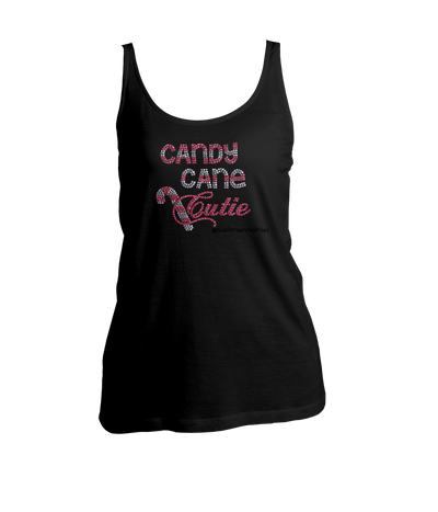 Candy Cane Cutie Rhinestone Ladies Tank Top