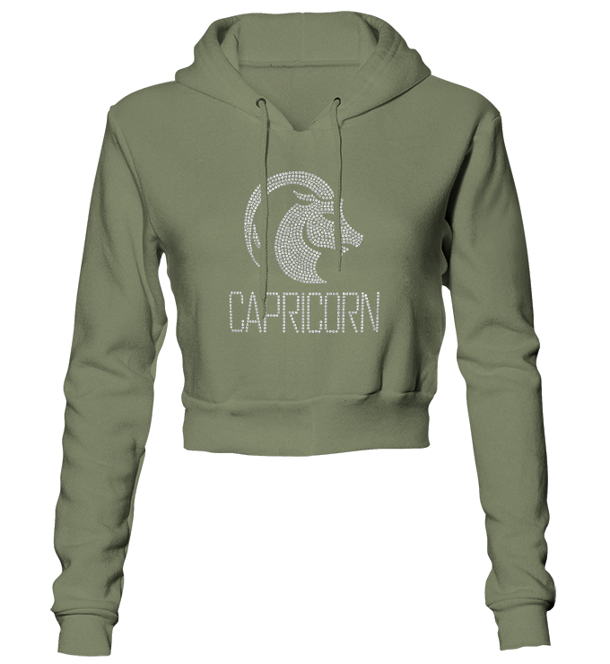 Capricorn Horoscope Bling Cropped Hoodie