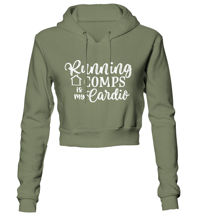 Running Comps Is My Cardio Glitter Cropped Hoodie