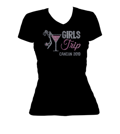 Girls Trip Destination w/Martini Glass Bling V-Neck Shirt