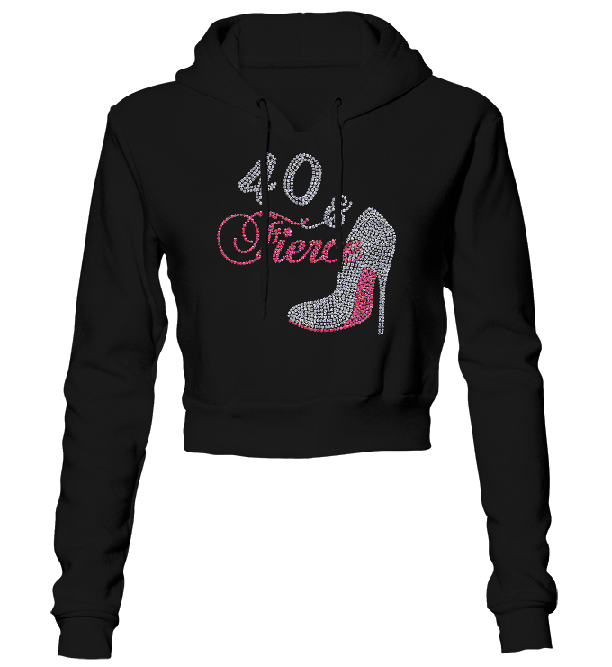 Fierce Birthday Bling Cropped Hoodie