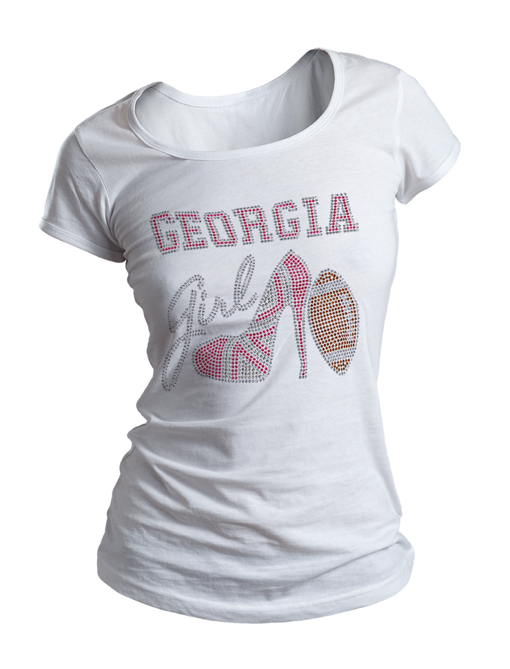 Georgia Girl w/Football Bling Crew Neck Shirt