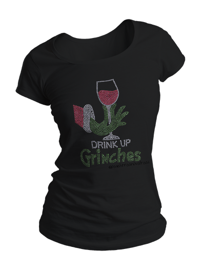 Drink Up Grinches Rhinestone Crew Neck Shirt