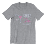 Girls Trip Destination w/Martini Glass Rhinestone Unisex Shirt