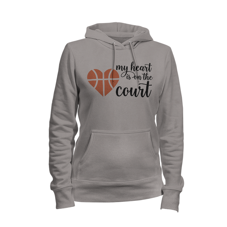 My Heart Is On The Court Ladies Hoodie