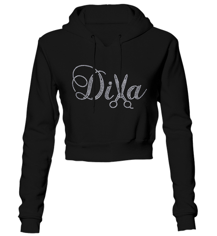 Diva Hair Stylist Bling Cropped Hoodie