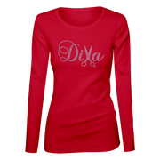 Diva Hair Stylist Bling Ladies Long Sleeve Shirt