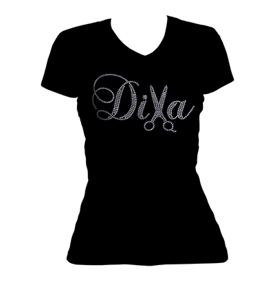 Diva Hair Stylist Bling V-Neck Shirt