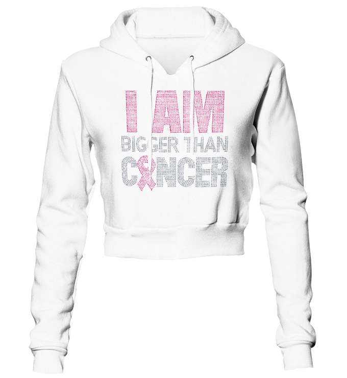 I Am Bigger Than Cancer Bling Cropped Hoodie