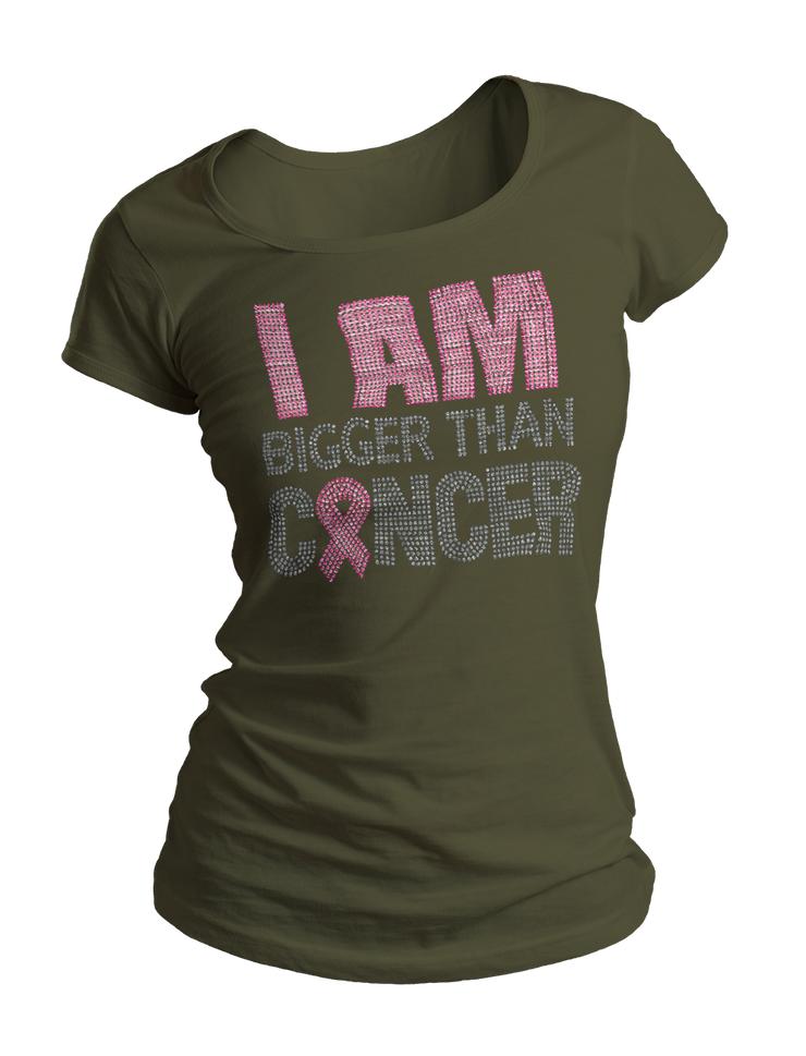I Am Bigger Than Cancer Bling Crew Neck Shirt