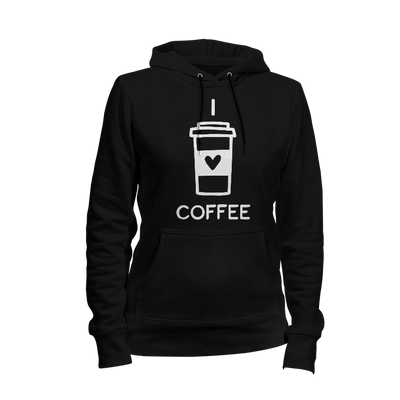 I Love Coffee Ladies Hoodie