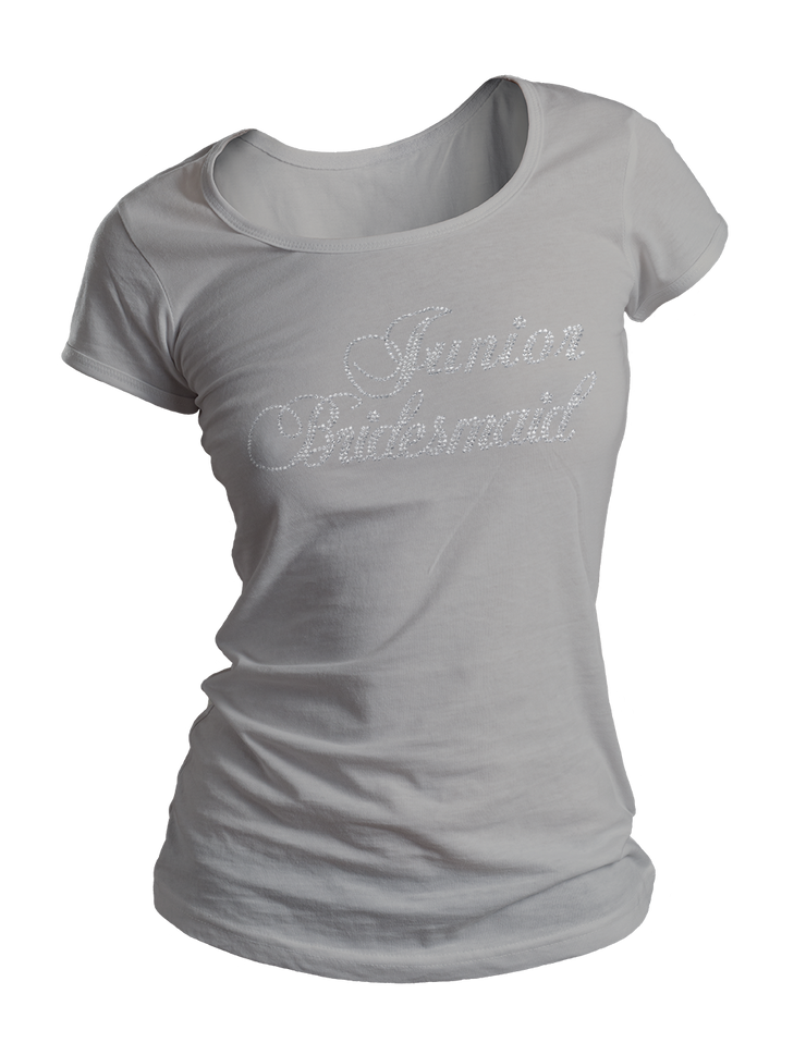 Junior Bridesmaid Bling Crew Neck Shirt