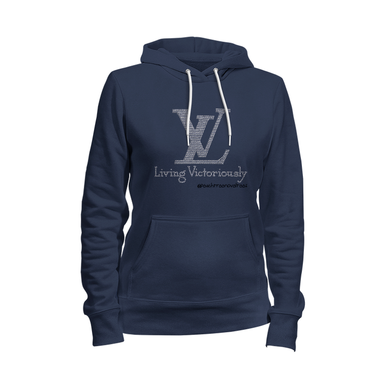 Living Victoriously Rhinestone Ladies Hoodie