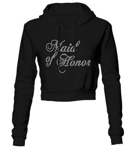 Maid of Honor Bling Cropped Hoodie