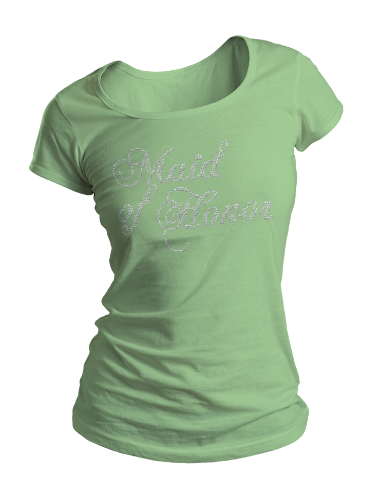 Maid of Honor Bling Crew Neck Shirt