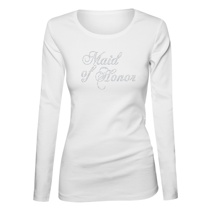 Maid of Honor Bling Ladies Long Sleeve Shirt