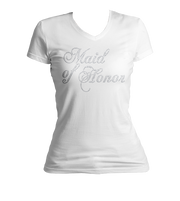 Maid of Honor Bling Ladies V-Neck Shirt