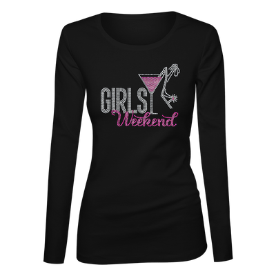 Girls Weekend w/Martini Glass Bling Ladies Long Sleeve Shirt