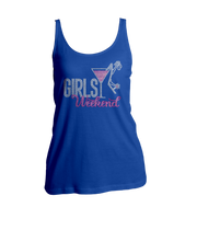 Girls Weekend w/Martini Glass Bling Ladies Tank Top