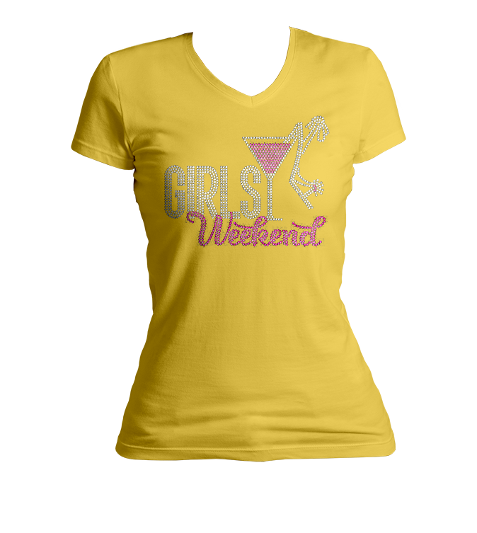 Girls Weekend Martini Bling V-Neck Shirt