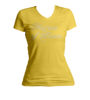 Matron of Honor Bling Ladies V-Neck Shirt