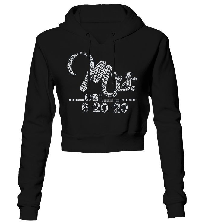 Mrs. w/Wedding Date Bling Cropped Hoodie