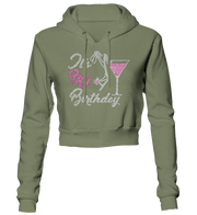 It's My Birthday w/Martini Glass Bling Cropped Hoodie