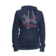 It's My Birthday w/Wine Glass Rhinestone Ladies Hoodie