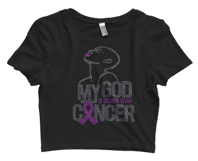 My God Is Bigger Than Cancer Bling Crop Top