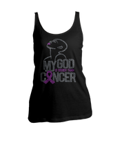 My God Is Bigger Than Cancer Bling Ladies Tank Top