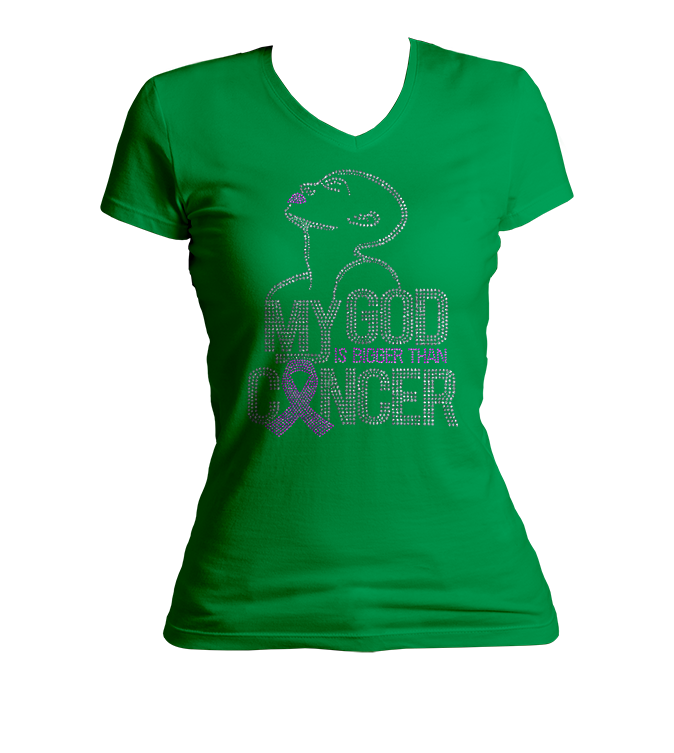 My God Is Bigger Than Cancer Bling V-Neck Shirt