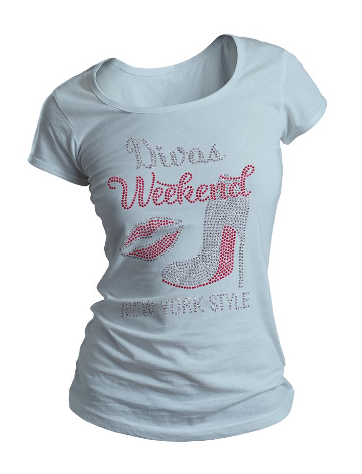 Divas Weekend New York Style Bling Crew Neck Shirt