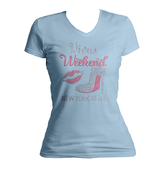Divas Weekend New York Bling V-Neck Shirt