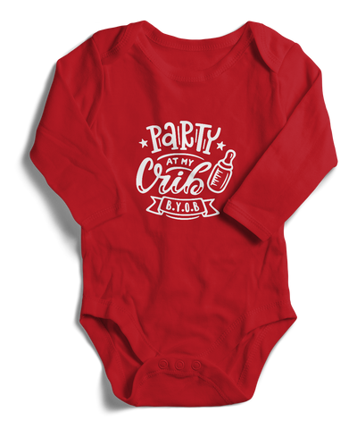 Party At My Crib Long Sleeve Infant One-Piece
