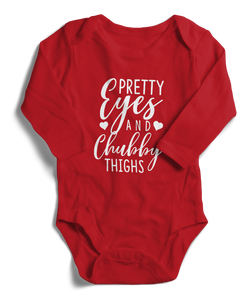 Pretty Eyes And Chubby Thighs Long Sleeve Infant One-Piece