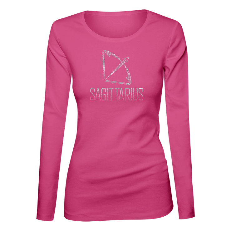 Sagittarius Horoscope Bling Ladies Long Sleeve Shirt