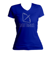 Sagittarius Horoscope Bling V-Neck Shirt