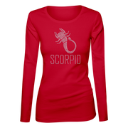 Scorpio Horoscope Bling Ladies Long Sleeve Shirt