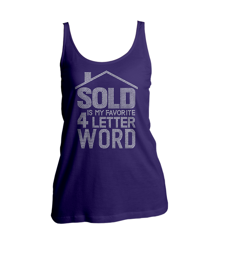 Sold Is My Favorite 4-Letter Word Bling Ladies Tank Top