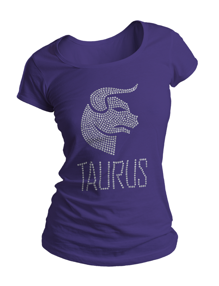 Taurus Horoscope Bling Crew Neck Shirt