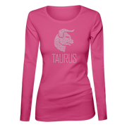 Taurus Horoscope Bling Ladies Long Sleeve Shirt