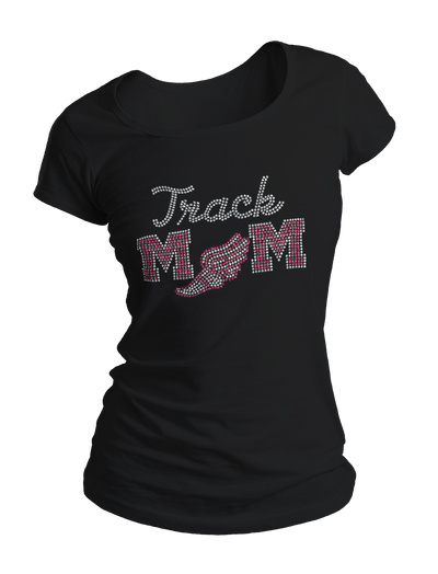 Track Mom Bling Crew Neck Shirt