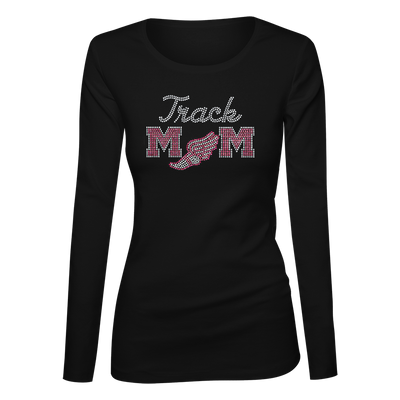 Track Mom Bling Ladies Long Sleeve Shirt